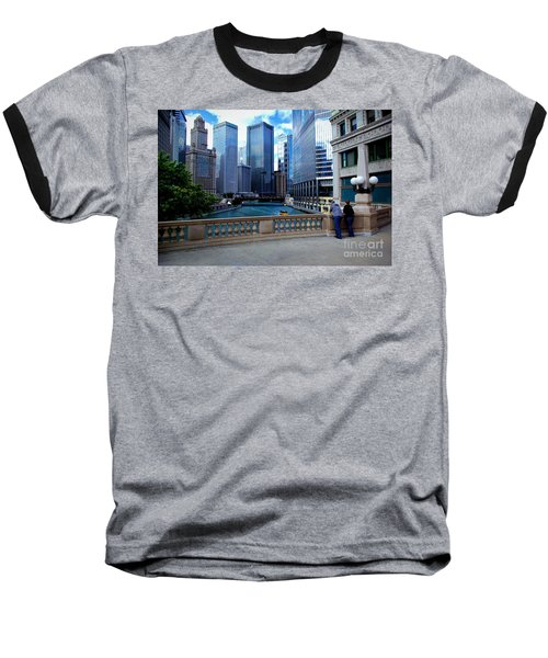 Summer Breeze On The Chicago River - Color Baseball T-Shirt