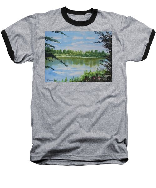 Summer By The River Baseball T-Shirt by Martin Howard