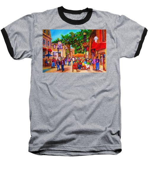 Baseball T-Shirt featuring the painting Summer Cafes by Carole Spandau