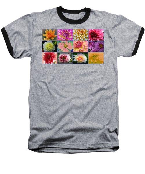 Summer Time Dahlias Baseball T-Shirt by Dora Sofia Caputo Photographic Art and Design