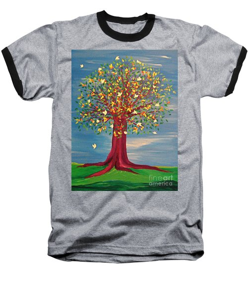 Baseball T-Shirt featuring the painting Summer Fantasy Tree by First Star Art