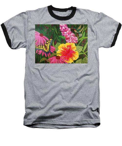 Baseball T-Shirt featuring the painting Summer Garden by Ellen Levinson
