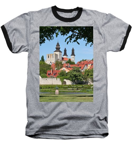 Summer Green Medieval Town Baseball T-Shirt