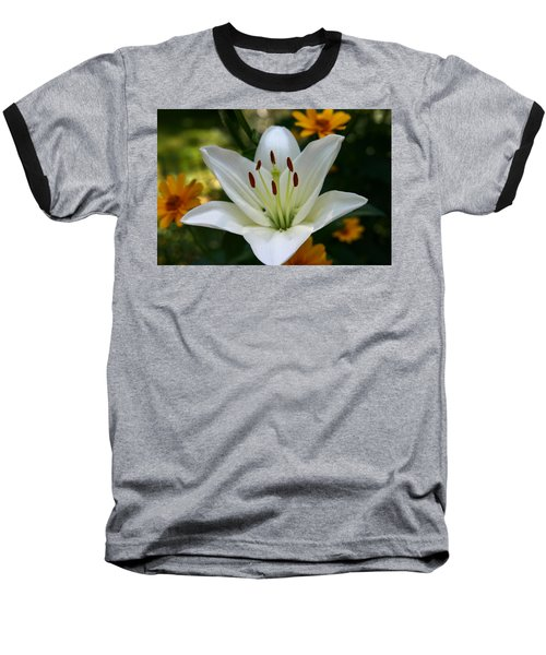 Summer Lily Baseball T-Shirt by Denyse Duhaime