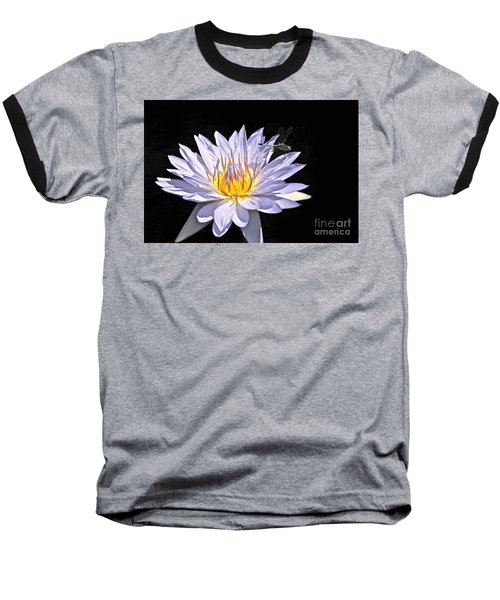 Summer Magic -- Dragonfly On Waterlily On Black Baseball T-Shirt