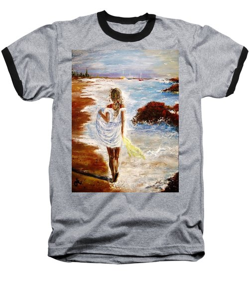 Baseball T-Shirt featuring the painting Summer Memories by Cristina Mihailescu