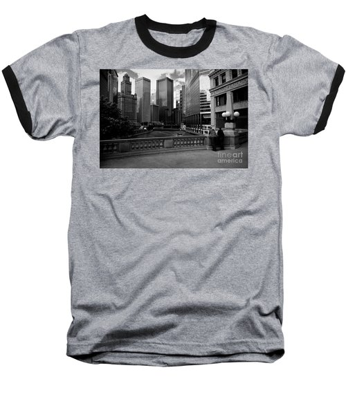 Summer On The Chicago River - Black And White Baseball T-Shirt