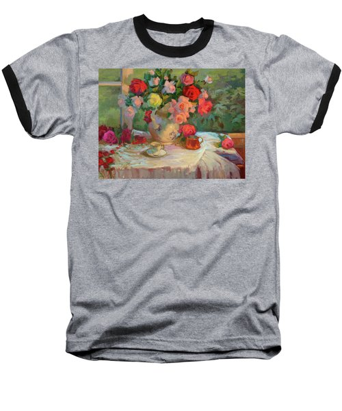 Summer Roses Baseball T-Shirt by Diane McClary