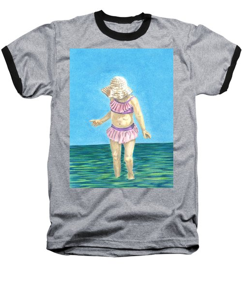 Baseball T-Shirt featuring the drawing Summer by Troy Levesque