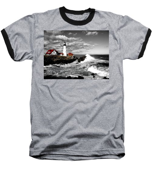 Summer Waves Red Stroke Bw Baseball T-Shirt