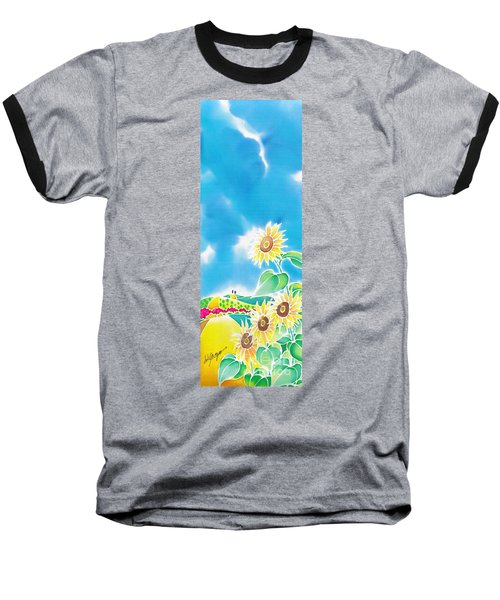 Baseball T-Shirt featuring the painting Sun Flowers by Hisayo Ohta