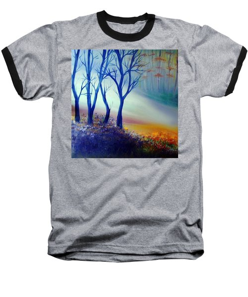 Baseball T-Shirt featuring the painting Sun Ray In Blue  by Lilia D