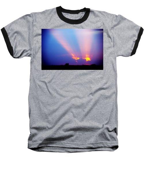 Sun Rays At Sunset Baseball T-Shirt