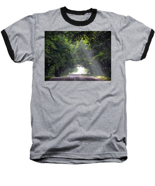 Sun Rays On Waters End Road Baseball T-Shirt by David T Wilkinson