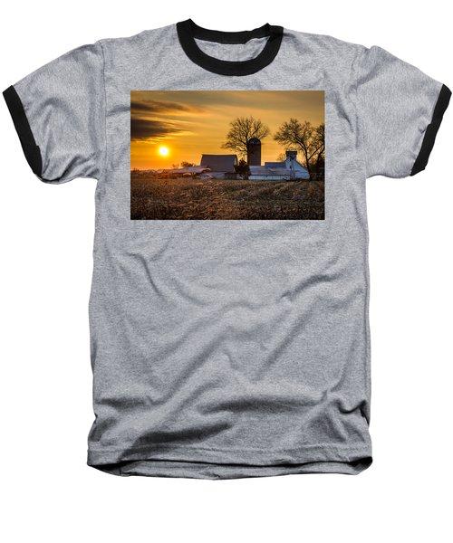 Sun Rise Over The Farm Baseball T-Shirt