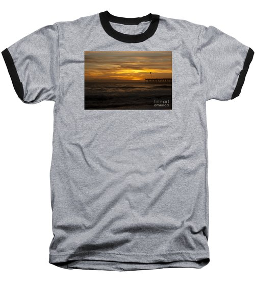 Sun Setting Behind Santa Cruz With Ventura Pier 01-10-2010 Baseball T-Shirt