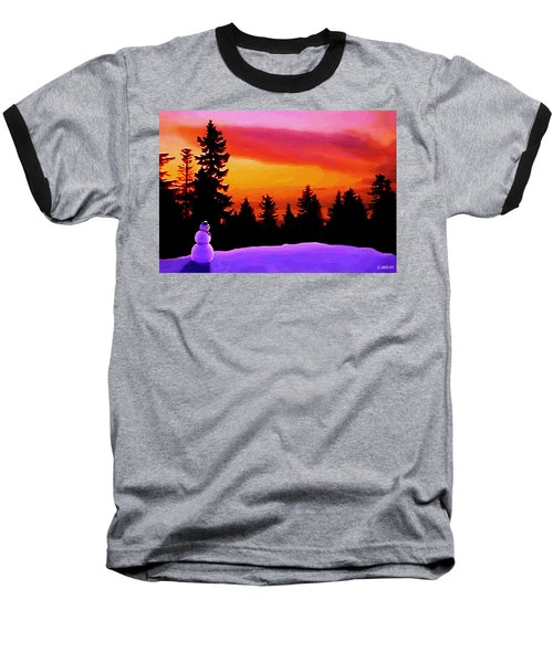Baseball T-Shirt featuring the painting Sun Setting On Snow by Sophia Schmierer