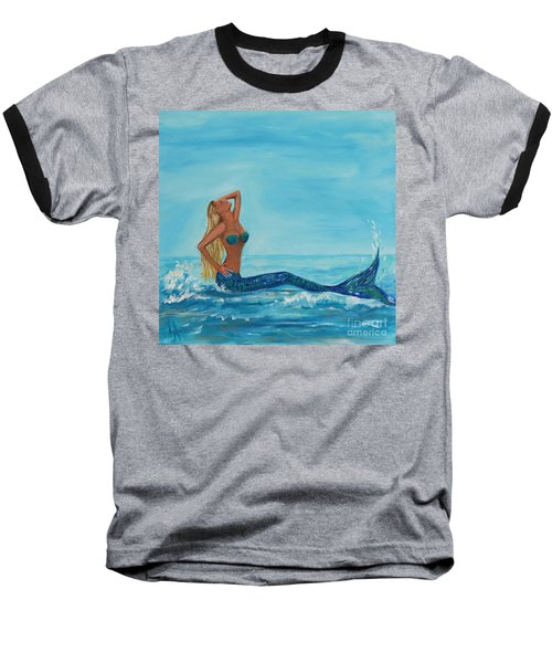 Sunbathing Mermaid Baseball T-Shirt