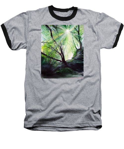Baseball T-Shirt featuring the painting Sunbeans Of Grace by Allison Ashton