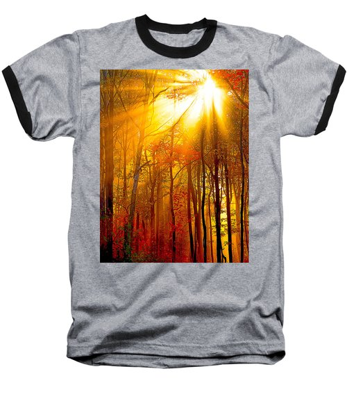 Sunburst In The Forest Baseball T-Shirt