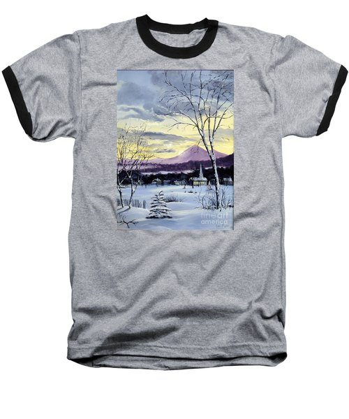 Baseball T-Shirt featuring the painting Sunday In Winter by Lee Piper
