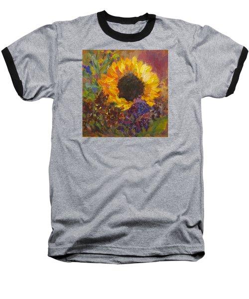 Sunflower Dance Original Painting Impressionist Baseball T-Shirt by Quin Sweetman
