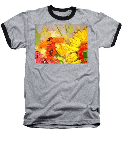 Baseball T-Shirt featuring the painting Sunflower Detail by Ana Maria Edulescu