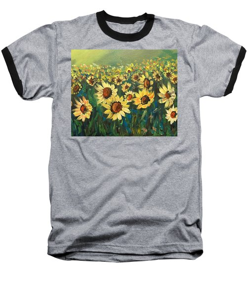 Baseball T-Shirt featuring the painting Sunflower Field by Dorothy Maier