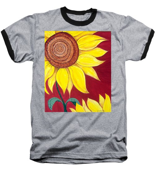 Sunflower On Red Baseball T-Shirt