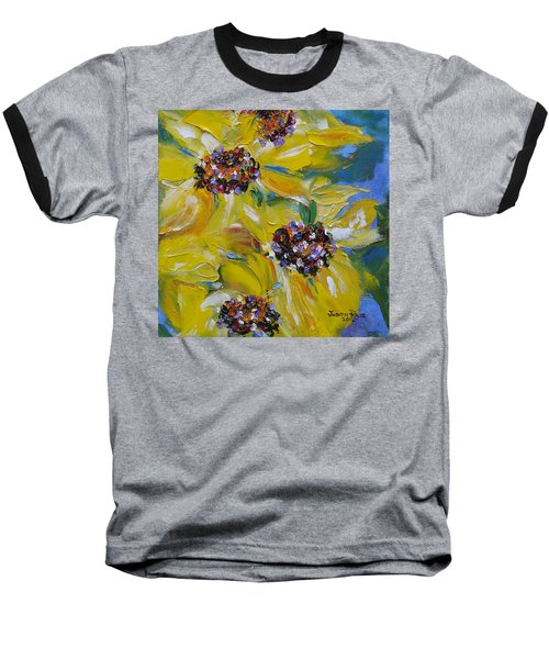 Baseball T-Shirt featuring the painting Sunflower Quartet by Judith Rhue