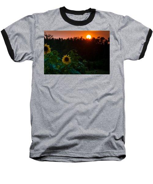 Sunflower Sunset Baseball T-Shirt by Cheryl Baxter