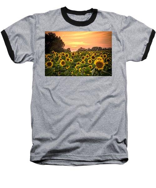 Baseball T-Shirt featuring the photograph Sunflower Sunset by Steven Bateson