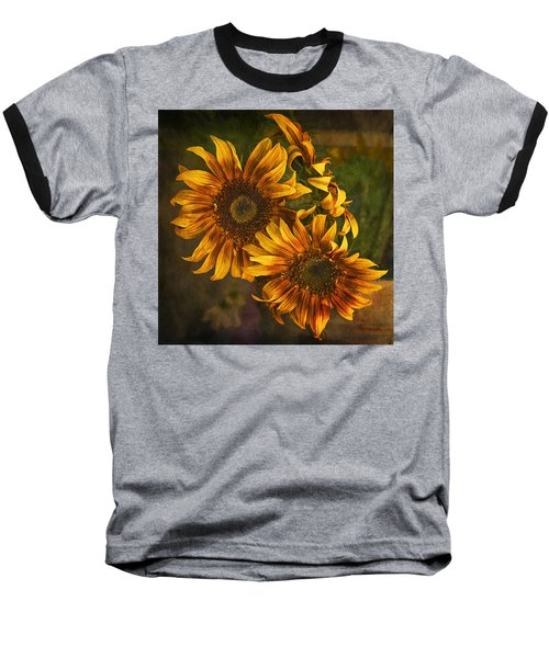 Baseball T-Shirt featuring the photograph Sunflower Trio by Priscilla Burgers