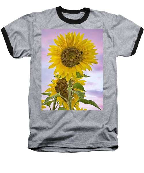 Sunflower With Colorful Evening Sky Baseball T-Shirt