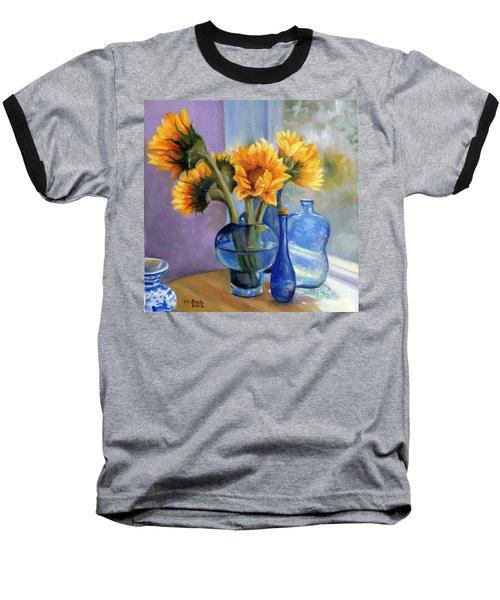 Sunflowers And Blue Bottles Baseball T-Shirt