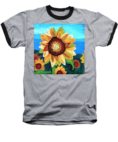 Sunflowers And Blue Sky Baseball T-Shirt by Genevieve Esson