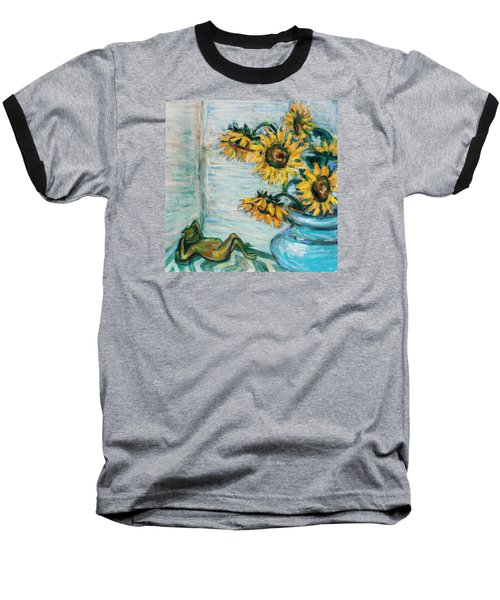Sunflowers And Frog Baseball T-Shirt