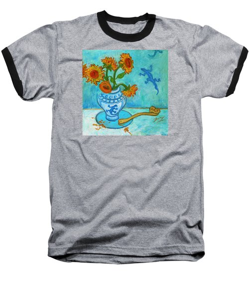 Baseball T-Shirt featuring the painting Sunflowers And Lizards by Xueling Zou