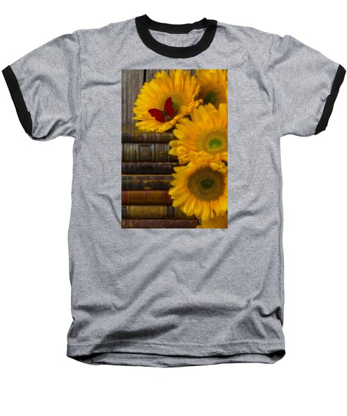 Sunflowers And Old Books Baseball T-Shirt by Garry Gay