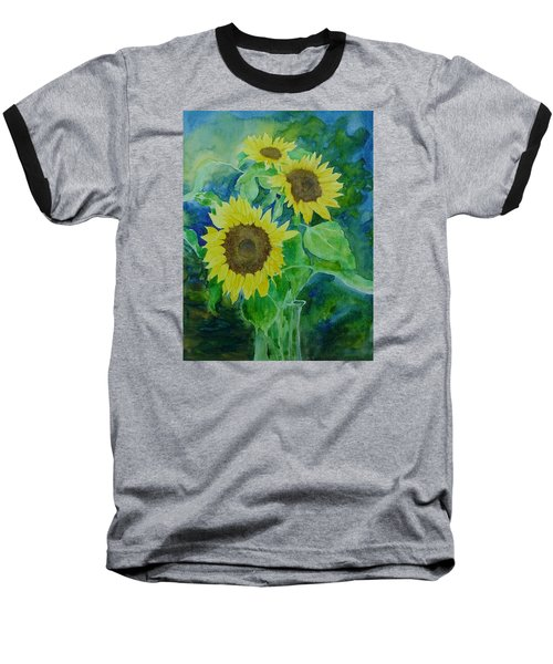 Sunflowers Colorful Sunflower Art Of Original Watercolor Baseball T-Shirt by Elizabeth Sawyer