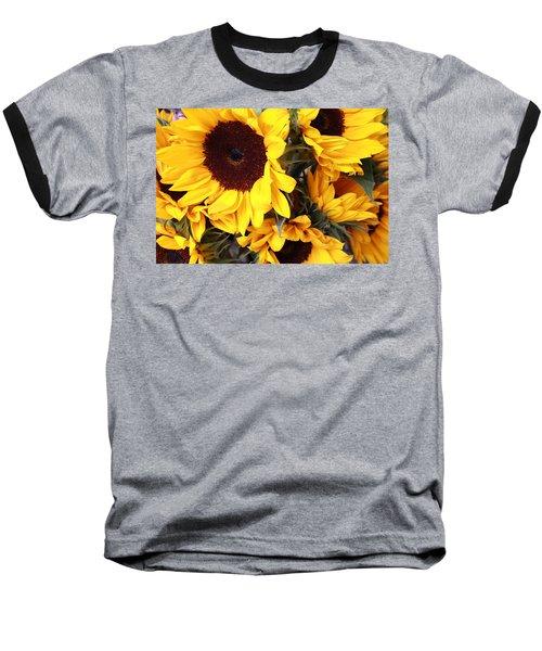 Baseball T-Shirt featuring the photograph Sunflowers by Dora Sofia Caputo Photographic Art and Design
