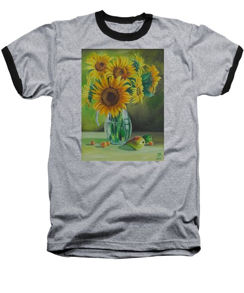 Baseball T-Shirt featuring the painting Sunflowers In Glass Jug by Nina Mitkova