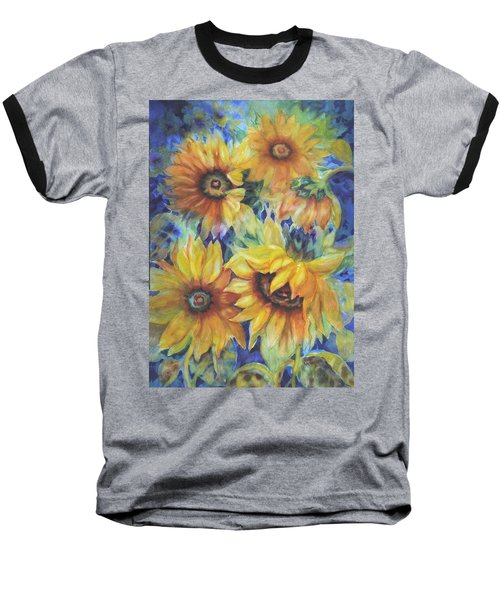 Sunflowers On Blue I Baseball T-Shirt