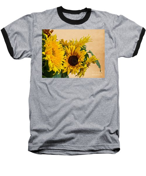 Sunflowers On Old Paper Background Art Prints Baseball T-Shirt by Valerie Garner
