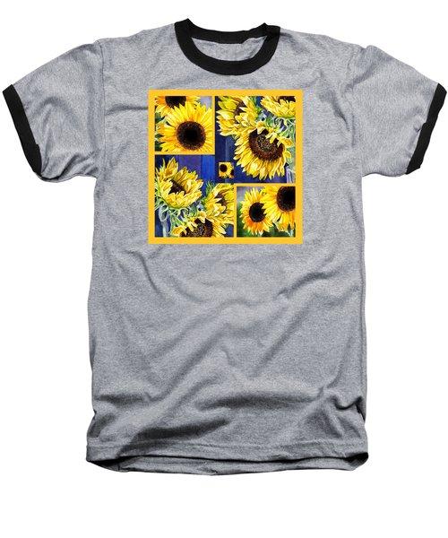 Baseball T-Shirt featuring the painting Sunflowers Sunny Collage by Irina Sztukowski