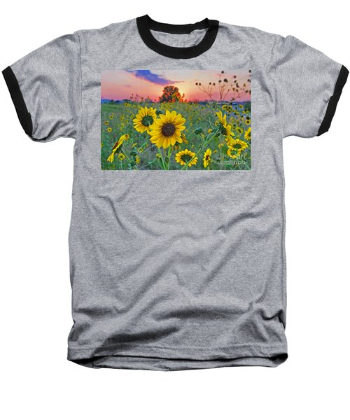 Sunflowers Sunset Baseball T-Shirt by Gary Holmes