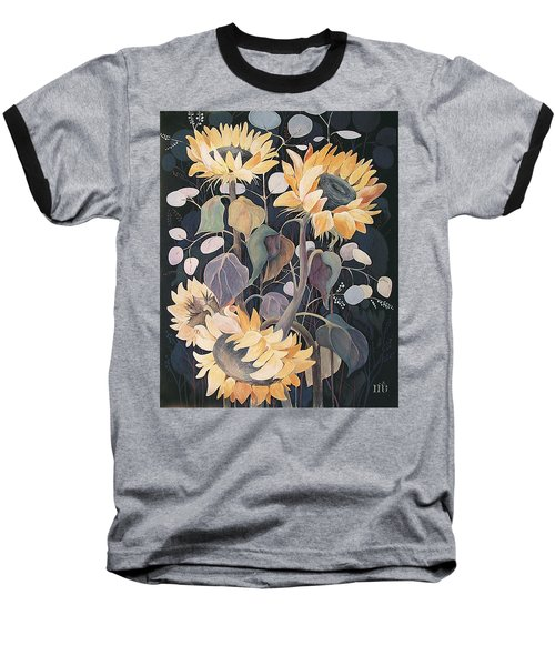 Sunflowers' Symphony Baseball T-Shirt by Marina Gnetetsky