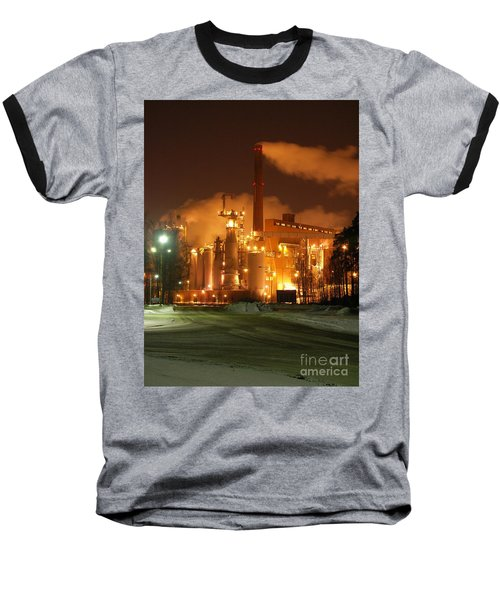 Sunila Pulp Mill By Winter Night Baseball T-Shirt