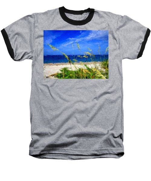 Baseball T-Shirt featuring the digital art Sunlit Beachgrass by Anthony Fishburne