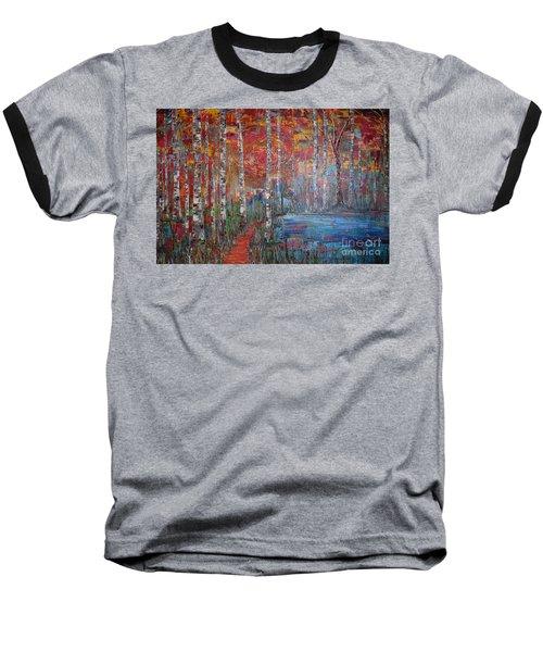 Sunlit Birch Pathway Baseball T-Shirt
